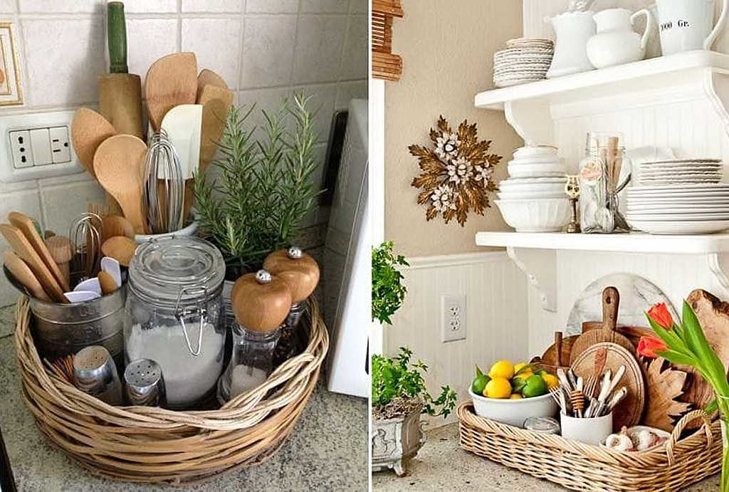 плетеная корзина в кухне прованс