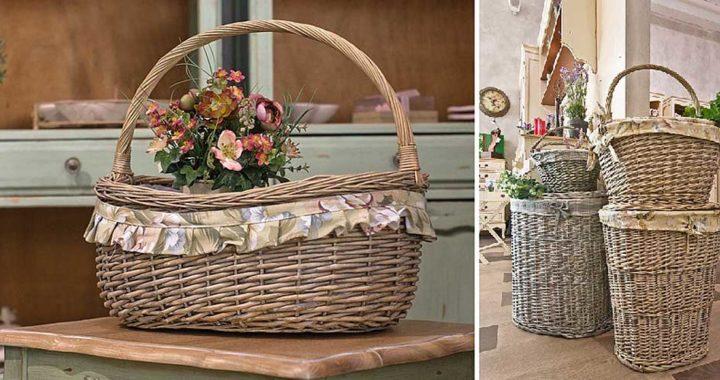 Плетеные корзины в стильных интерьерах.