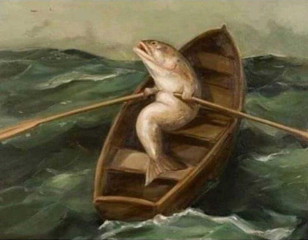 рыба плывет по морю