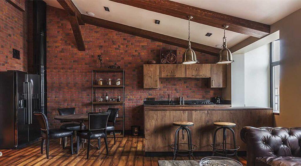 кухня из амбарной доски
